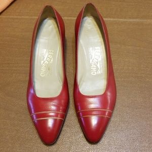 Red Salvatore Ferragamo leather shoes
